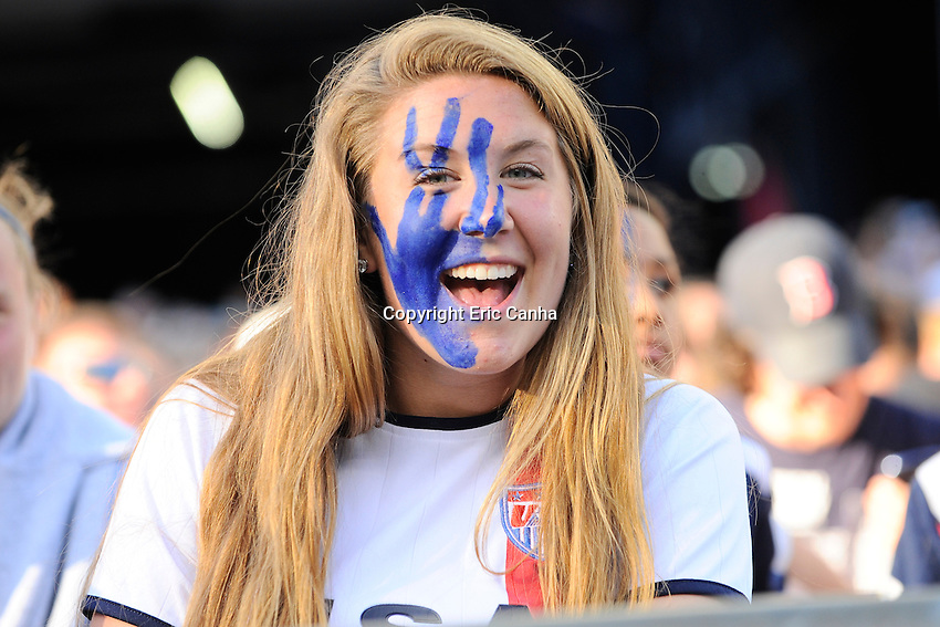 A fan watches the International Friendly soccer match between the USA Women's National team and the Korea Republic Women's Team held at Gillette Stadium in Foxborough Massachusetts.   Eric Canha/CSM