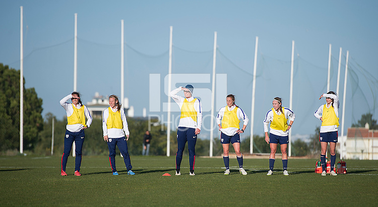 Lagos, Portugal - Februrary 27, 2015:  The USWNT trains in preparation for the Algarve Cup in Lagos, Portugal.