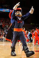 The Virginia  mascot performs during the game against North Carolina  at the John Paul Jones arena in Charlottesville, Va. Virginia defeated North Carolina 61-52.