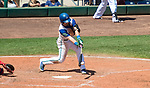 HARTFORD,  CT-071818JS15--Hartford's Brendan Rodgers (1) hits the game winning RBI during their game against Reading on Wednesday afternoon at Dunkin Donuts Park in Hartford.<br /> Jim Shannon Republican American