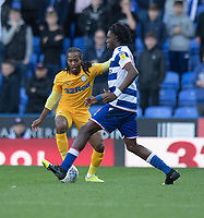 Reading's Ovie Ejaria (right) under pressure from Preston North End's Daniel Johnson (left) <br /> <br /> Photographer David Horton/CameraSport<br /> <br /> The EFL Sky Bet Championship - Reading v Preston North End - Saturday 19th October 2019 - Madejski Stadium - Reading<br /> <br /> World Copyright © 2019 CameraSport. All rights reserved. 43 Linden Ave. Countesthorpe. Leicester. England. LE8 5PG - Tel: +44 (0) 116 277 4147 - admin@camerasport.com - www.camerasport.com