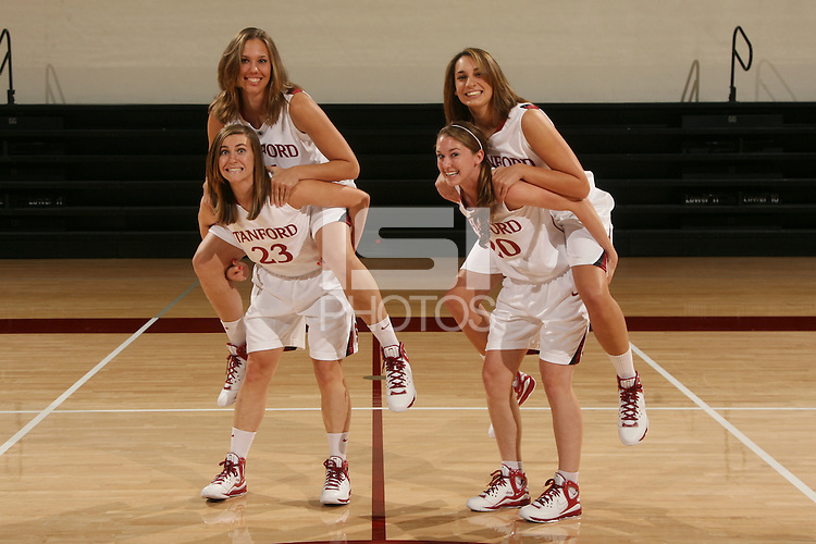 STANFORD, CA - OCTOBER 9:  Ashley Cimino, Kayla Pedersen, Jeanette Pohlen, and Hannah Donaghe of the Stanford Cardinal during picture day on October 9, 2008 at Maples Pavilion in Stanford, California.