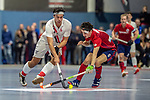 Mannheim, Germany, January 08: During the 1. Bundesliga men indoor hockey match between TSV Mannheim and Mannheimer HC on January 8, 2020 at Primus-Valor Arena in Mannheim, Germany. Final score 5-4. (Photo by Dirk Markgraf / www.265-images.com) *** Aki Kaeppeler #22 of TSV Mannheim, Teo Hinrichs #6 of Mannheimer HC