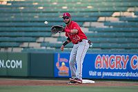 AZL Angels first baseman Bernabe Camargo (64) during an Arizona League game against the AZL Diamondbacks at Tempe Diablo Stadium on June 27, 2018 in Tempe, Arizona. The AZL Angels defeated the AZL Diamondbacks 5-3. (Zachary Lucy/Four Seam Images)