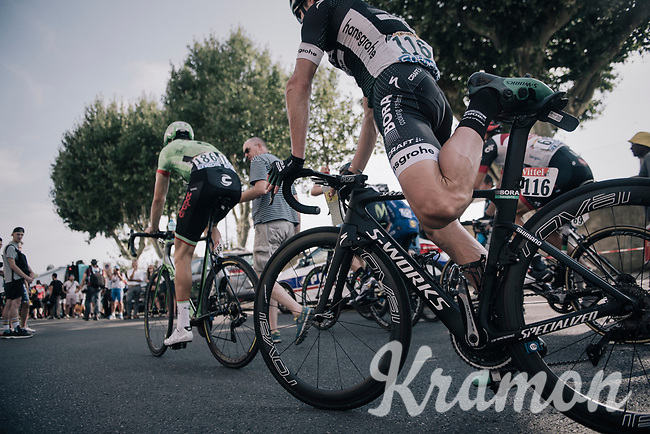 post-race stretch for Jay McCarthy (AUS/BORA-hansgrohe)<br /> <br /> 104th Tour de France 2017<br /> Stage 19 - Embrun &rsaquo; Salon-de-Provence (220km)