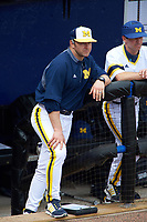 Michigan Wolverines head coach Erik Bakich (23) during the first game of a doubleheader against the Canisius College Golden Griffins on June 20, 2016 at Tradition Field in St. Lucie, Florida.  Michigan defeated Canisius 6-2.  (Mike Janes/Four Seam Images)