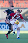 2nd February 2019, Hope CBD Stadium, Hamilton, Scotland; Ladbrokes Premiership football, Hamilton Academical versus Dundee; George Oakley of Hamilton Academical challenges for the ball with Ryan McGowan of Dundee