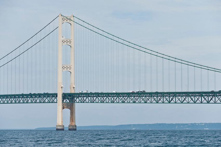 The Mackinac Bridge connects Michigan's Upper and Lower Peninsulas at the Straits of Mackinac between Lake Michigan and Lake Huron.