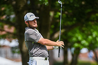 Tyrrell Hatton (ENG) hits his approach shot on 10 during round 1 of the 2019 Charles Schwab Challenge, Colonial Country Club, Ft. Worth, Texas,  USA. 5/23/2019.<br /> Picture: Golffile | Ken Murray<br /> <br /> All photo usage must carry mandatory copyright credit (© Golffile | Ken Murray)