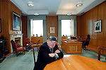 South Kerry Deputy Jackie Healy-Rae poses for a photograph in the Taoiseach's office in Dail Eireann while awaiting a meeting with Bertie Ahern  after he was elected to Dail Eireann.<br /> Picture by Don MacMonagle