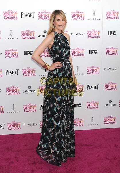 Leslie Bibb.2013 Film Independent Spirit Awards - Arrivals Held At Santa Monica Beach, Santa Monica, California, USA,.23rd February 2013..indy indie indies indys full length hand on hip print dress maxi black green gold cuff clutch bag side sleeveless.CAP/ROT/TM.©Tony Michaels/Roth Stock/Capital Pictures