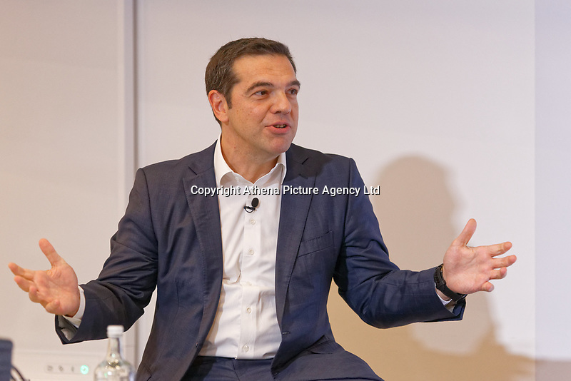 Pictured: Alexis Tsipras addresses delegates. Wednesday 27 June 2018<br /> Re: Greek Prime Minister Alexis Tsipras gives a speech at the Sammy Ofer building of the London Business School in London, UK