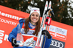 Cross Country Ski World Cup 2018 FIS in Val Di Fiemme, on January 7, 2018; Tour de ski; Final Climb; Women 9.0 Km Pursuit Free; Final podium with victory of Heidi Weng (NOR)