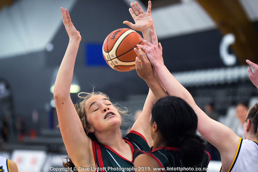 Action from the 2019 Schick AA Girls' Secondary Schools Basketball Premiership National Championship match between Queen Margaret College and Middleton Grange School at the Central Energy Trust Arena in Palmerston North, New Zealand on Monday, 30 September 2019. Photo: Dave Lintott / lintottphoto.co.nz