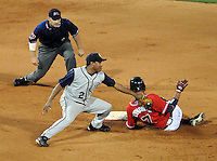 10 April 2008: Diory Hernandez (7) of the Mississippi Braves, Class AA affiliate of the Atlanta Braves, is tagged out at second by shortstop Guillermo Reyes (2) of the Mobile BayBears at Trustmark Park in Pearl, Miss. Photo by:  Tom Priddy/Four Seam Images