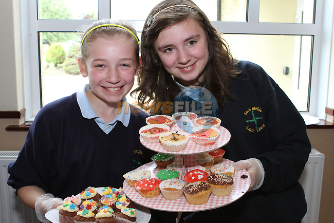 Sinead McCarthy and Lauren Fagan at the Cake Sale in Scoil Bhride NS, Dunleer....Photo NEWSFILE/Jenny Matthews.