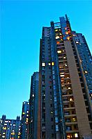 City living high rise apartment buildings blue sky photo