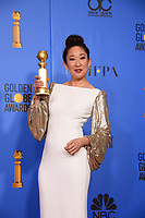After winning the category of BEST PERFORMANCE BY AN ACTRESS IN A TELEVISION SERIES &ndash; DRAMA for her role in &quot;Killing Eve,&quot; actress Sandra Oh poses backstage in the press room with her Golden Globe Award at the 76th Annual Golden Globe Awards at the Beverly Hilton in Beverly Hills, CA on Sunday, January 6, 2019.<br /> *Editorial Use Only*<br /> CAP/PLF/HFPA<br /> Image supplied by Capital Pictures