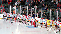 The Nebraska-Omaha hockey team wore special Leap-for-a-Cure jerseys that were auctioned off to raise money for brain cancer research. Denver beat Nebraska-Omaha 4-2 Saturday night at Qwest Center Omaha. (Photo by Michelle Bishop)