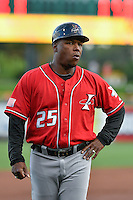 Albuquerque Isotopes manager Glenallen Hill (25) during the game against the Salt Lake Bees in Pacific Coast League action at Smith's Ballpark on August 30, 2016 in Salt Lake City, Utah. The Bees defeated the Isotopes 3-2. (Stephen Smith/Four Seam Images)