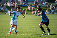 Kansas City, MO - Sunday May 07, 2017: Camila Martins Pereira, Christina Gibbons during a regular season National Women's Soccer League (NWSL) match between FC Kansas City and the Orlando Pride at Children's Mercy Victory Field.