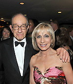 Washington, D.C. - May 9, 2009 -- Alan Greenspan, left, and his wife, Andrea Mitchell attends one of the parties prior to the White House Correspondents Dinner in Washington, D.C. on Saturday, May 9, 2009..Credit: Ron Sachs / CNP.(RESTRICTION: NO New York or New Jersey Newspapers or newspapers within a 75 mile radius of New York City)