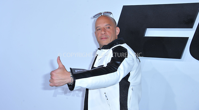WWW.ACEPIXS.COM<br /> <br /> April 1 2015, LA<br /> <br /> Vin Diesel arriving at Universal Pictures Premiere of 'Furious 7'' at the TLC Chinese Theatre, Hollywood, on April 1, 2015 in Los Angeles.CA <br /> <br /> By Line: Peter West/ACE Pictures<br /> <br /> <br /> ACE Pictures, Inc.<br /> tel: 646 769 0430<br /> Email: info@acepixs.com<br /> www.acepixs.com