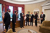 United States President Barack Obama meets with the crew of the Discovery Space Shuttle's last mission in the Oval Office of the White House in Washington, DC, USA, on 09 May, 2011..Credit: Jim LoScalzo / Pool via CNP