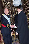 13.06.2012. King Juan Carlos I of Spain attens presentation of Credentials at the Royal Palace of Madrid with the Mr. Bakyt Dyussenbayev, Ambassador of the Republic of Kazajstán. In the image King Juan Carlos I of Spain and Bakyt Dyussenbayev (Alterphotos/Marta Gonzalez)