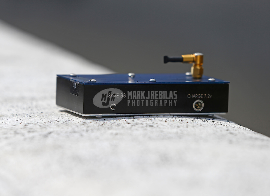 Jul 10, 2016; Joliet, IL, USA; Detailed view of a remote shutoff device for an NHRA top fuel dragster during the Route 66 Nationals at Route 66 Raceway. Mandatory Credit: Mark J. Rebilas-USA TODAY Sports
