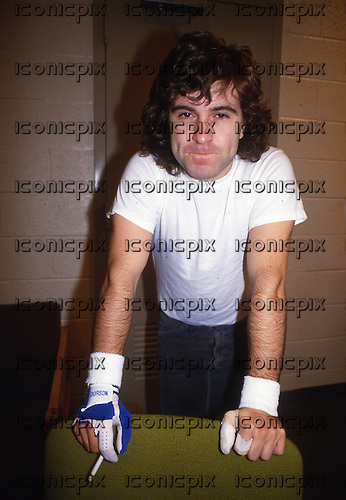 AC/DC - drummer Simon Wright - backstage on the Fly On The Wall Tour at the Nassau Colisseum in Uniondale NY USA - 21 Nov 1985.  Photo credit: George Bodnar Archive/IconicPix