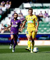 3rd November 2019; HBF Park, Perth, Western Australia, Australia; A League Football, Perth Glory versus Central Coast Mariners; Gianni Stensness of the Central Coast Mariners passes the ball away from Diego Castro of the Perth Glory - Editorial Use