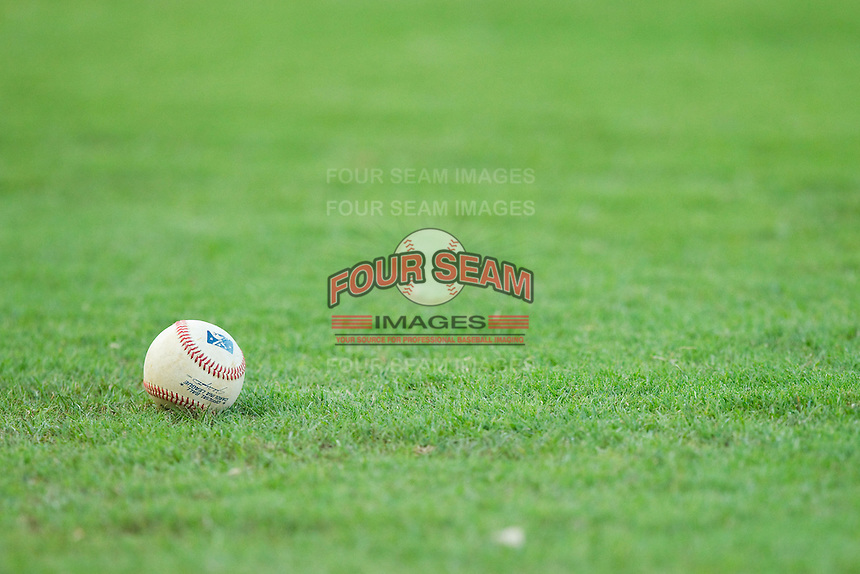 A Carolina League baseball sits in the grass prior to the game between the Salem Red Sox and the Winston-Salem Dash at BB&T Ballpark on August 15, 2013 in Winston-Salem, North Carolina.  The Red Sox defeated the Dash 2-1.  (Brian Westerholt/Four Seam Images)