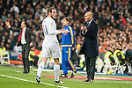 Real Madrid's Gareth Bale and coach Zinedine Zidane and Sevilla FC's  during La Liga match. March 20,2016. (ALTERPHOTOS/Borja B.Hojas)