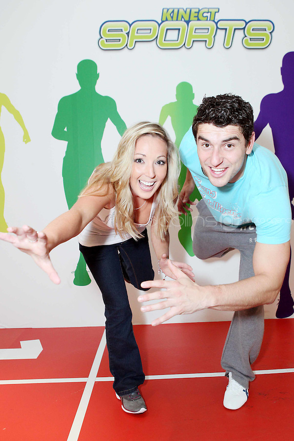 """NO REPRO FEE. Bernard Brogan, GAA All Star and 2010 Footballer of the Year and Linda O Neill , popped into the Kinect Experiential Centre on Grafton Street to get a sneak preview of Kinect ahead of launch on November 10thand take on the public in a series of sprints as part of a """"Kinect Sports"""" challenge.Kinect for Xbox 360 makes it possible to play in a whole new way by identifying your movement and body position to create a truly immersive entertainment experience. See a ball? Just kick it. Browse through a menu with the wave of a hand Picture James Horan/Collins Photos"""