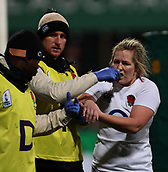 1st February 2019, Energia Park, Dublin, Ireland; Womens Six Nations rugby, Ireland versus England; Marlie Packer (England) goes off for medical attention