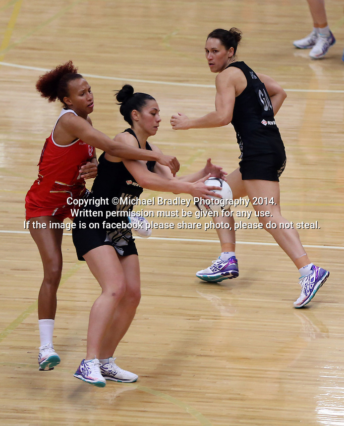 28.10.2014 Silver Ferns Grace Rasmussen and England's Serena Guthrie in action during the Silver Ferns V England netball match played at the Rotorua Events Centre in Rotorua. Mandatory Photo Credit ©Michael Bradley.