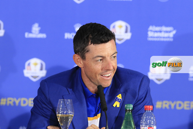 Rory McIlroy (Team Europe) at the press conference after Europe win the Ryder Cup 17.5 to 10.5 at the end of Sunday's Singles Matches at the 2018 Ryder Cup 2018, Le Golf National, Ile-de-France, France. 30/09/2018.<br /> Picture Eoin Clarke / Golffile.ie<br /> <br /> All photo usage must carry mandatory copyright credit (© Golffile | Eoin Clarke)