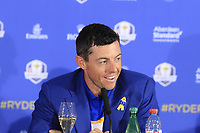Rory McIlroy (Team Europe) at the press conference after Europe win the Ryder Cup 17.5 to 10.5 at the end of Sunday's Singles Matches at the 2018 Ryder Cup 2018, Le Golf National, Ile-de-France, France. 30/09/2018.<br /> Picture Eoin Clarke / Golffile.ie<br /> <br /> All photo usage must carry mandatory copyright credit (&copy; Golffile | Eoin Clarke)