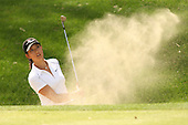 March 26, 2005; Rancho Mirage, CA, USA;   15 year old amateur Michelle Wie hits out of a bunker on the 17th hole during the third round of the LPGA Kraft Nabisco Championship.  She bogeyed the hole and her chances of making a run at the leaders went up in a cloud of dust as she fell apart on the back 9 and dropped four strokes on the last four holes and finished the day with a one over par 73.  her score placed her tied for 21st at one over par 217.<br />