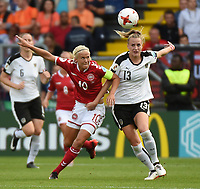 20170803 - BREDA , NETHERLANDS : Danish Pernille Harder (L) and Austrian Virginia Kirchberger (R) pictured during the female soccer game between Denmark and Austria  , the semi final at the Women's Euro 2017 , European Championship in The Netherlands 2017 , Thursday 3th of August 2017 at Stadion Rat Verlegh in Breda , The Netherlands PHOTO SPORTPIX.BE | DIRK VUYLSTEKE