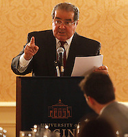 Supreme Court Justice Antonin Scalia spoke at the 100th anniversary dinner for the UVa lAw Review Wednesday February 12, 2014 in Alumni Hall at the University of Virginia in Charlottesville, VA. Photo/Andrew Shurtleff