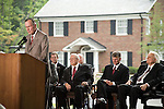 Thursday, May 31, Charlotte, North Carolina. Dedication ceremony for the new Billy Graham Library in Charlotte, North Carolina.. Former president George HW Bush was the keynote speaker..Behind him (l to r) an aide to Billy Graham, Cliff Barrows, Franklin Graham and Billy Graham.