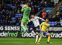 Bolton Wanderers' Will Buckley puts Leeds United's goalkeeper  Bailey Peacock-Farrell under pressure<br /> <br /> Photographer Andrew Kearns/CameraSport<br /> <br /> The EFL Sky Bet Championship - Bolton Wanderers v Leeds United - Saturday 15th December 2018 - University of Bolton Stadium - Bolton<br /> <br /> World Copyright &copy; 2018 CameraSport. All rights reserved. 43 Linden Ave. Countesthorpe. Leicester. England. LE8 5PG - Tel: +44 (0) 116 277 4147 - admin@camerasport.com - www.camerasport.com