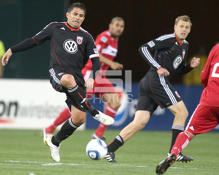 Jaime Moreno #99 of D.C. United controls the ball during an MLS match against the Chicago Fire on April 17 2010, at RFK Stadium in Washington D.C. Fire won 2-0.