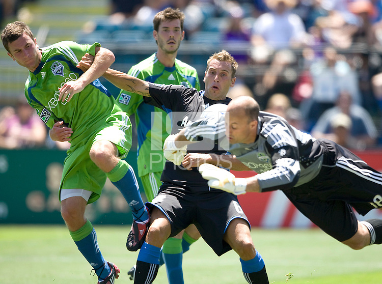 02 August 2009: Sounders' goalkeeper Kasey Keller unable to save Earthquakes' Darren Huckerby's kick to a goalnet during the second half of the game at Buck Shaw Stadium in Santa Clara, California.   Earthquakes defeated Sounders FC, 4-0.