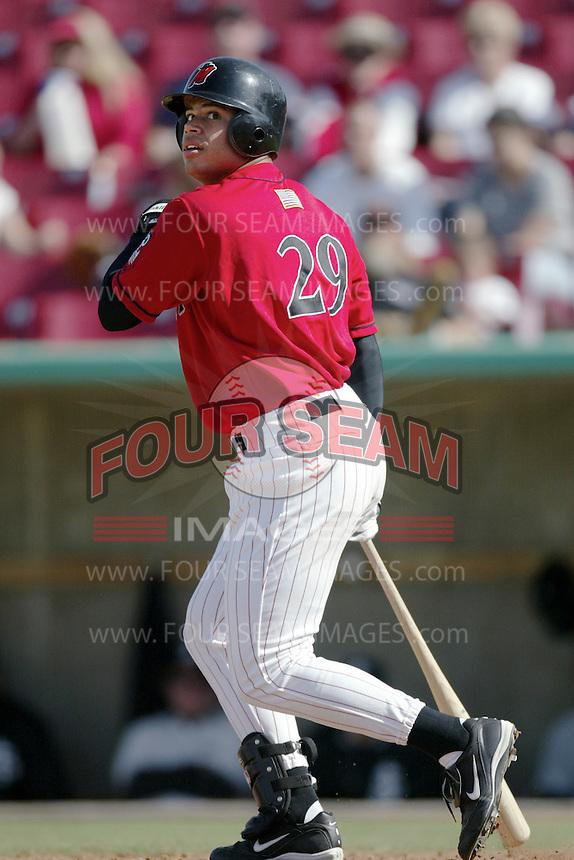 Daryl Clark of the High Desert Mavericks bats during a California League 2002 season game at Mavericks Stadium, in Adelanto, California. (Larry Goren/Four Seam Images)
