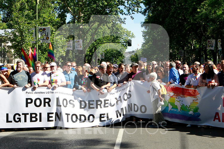 Political and social leaders during the demonstration of World Pride Madrid 2017. July 1, 2017. (ALTERPHOTOS/Acero)