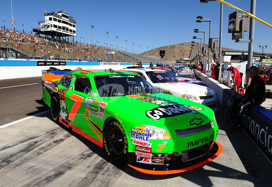 Mar. 3, 2012; Avondale, AZ, USA; The car of NASCAR Nationwide Series driver Danica Patrick on the grid prior to the Bashas Supermarkets 200 at Phoenix International Raceway. Mandatory Credit: Mark J. Rebilas-