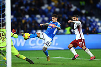 29th February 2020; Stadio San Paolo, Naples, Campania, Italy; Serie A Football, Napoli versus Torino; Giovanni Di Lorenzo of Napoli shoots and scores past keeper Sirigu in the 82nd minute for 2-0
